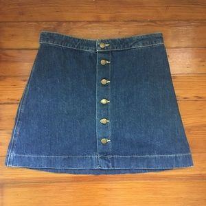 American Apparel Denim Button Front A-Line Skirt